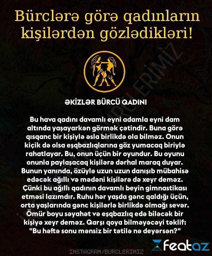 Burclərə Gorə Qadinlarin Kisilərdən Gozlədikləri Fotolar Feat